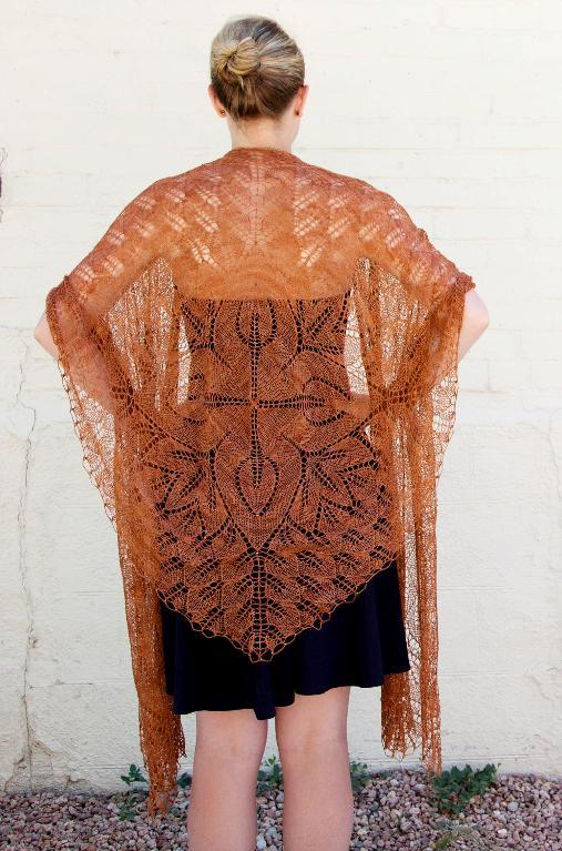 Knitted Fiori lace shawl