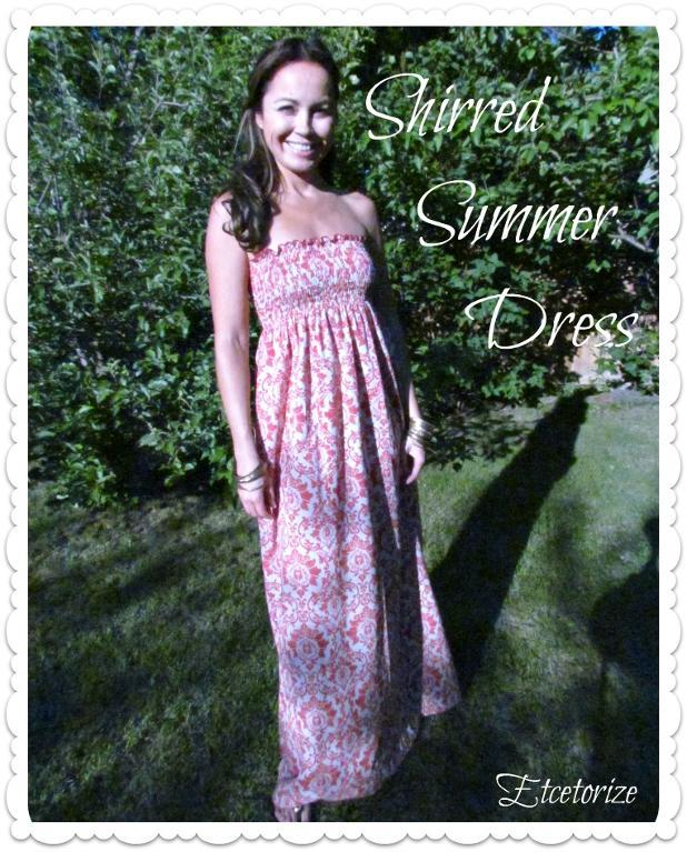 shirred pink long dress