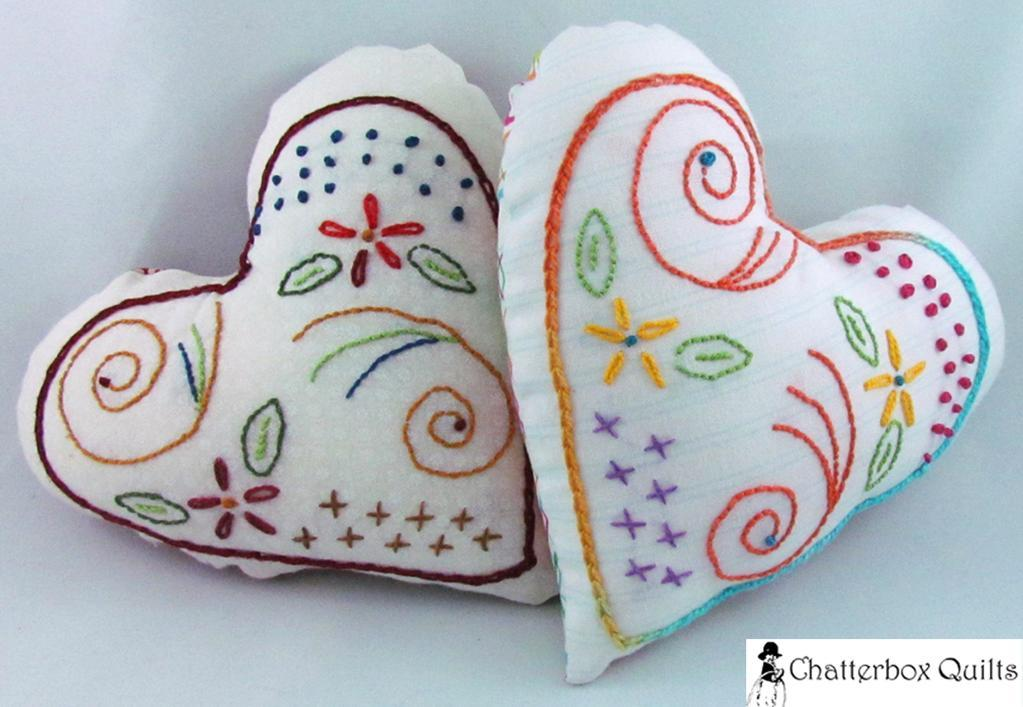 Free Heart Pillow / Pincushion Hand Embroidery Pattern