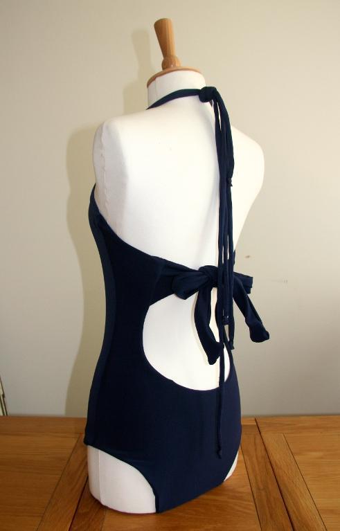 Back of Women's V-neck Swimsuit Pattern