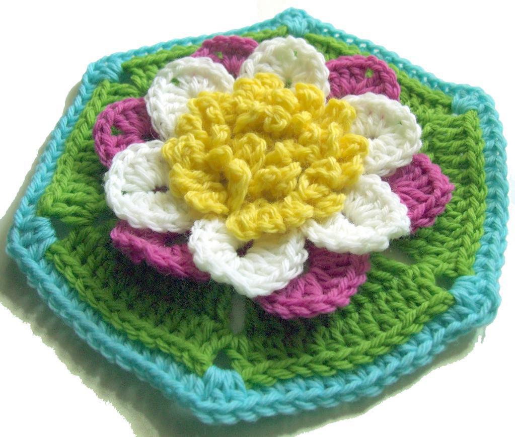 Crochet water lily hexagon