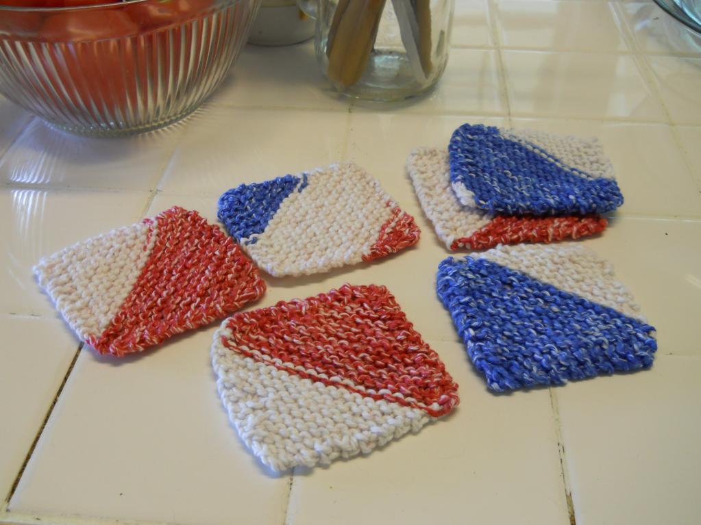 July Fourth Coasters - Free Knitting Pattern