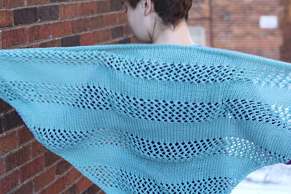 Knitted lace striped shawl