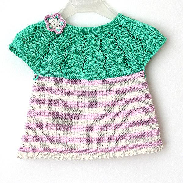 Knitted lace stripes tunica