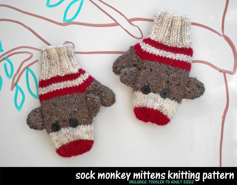 Knitted sock monkey mittens