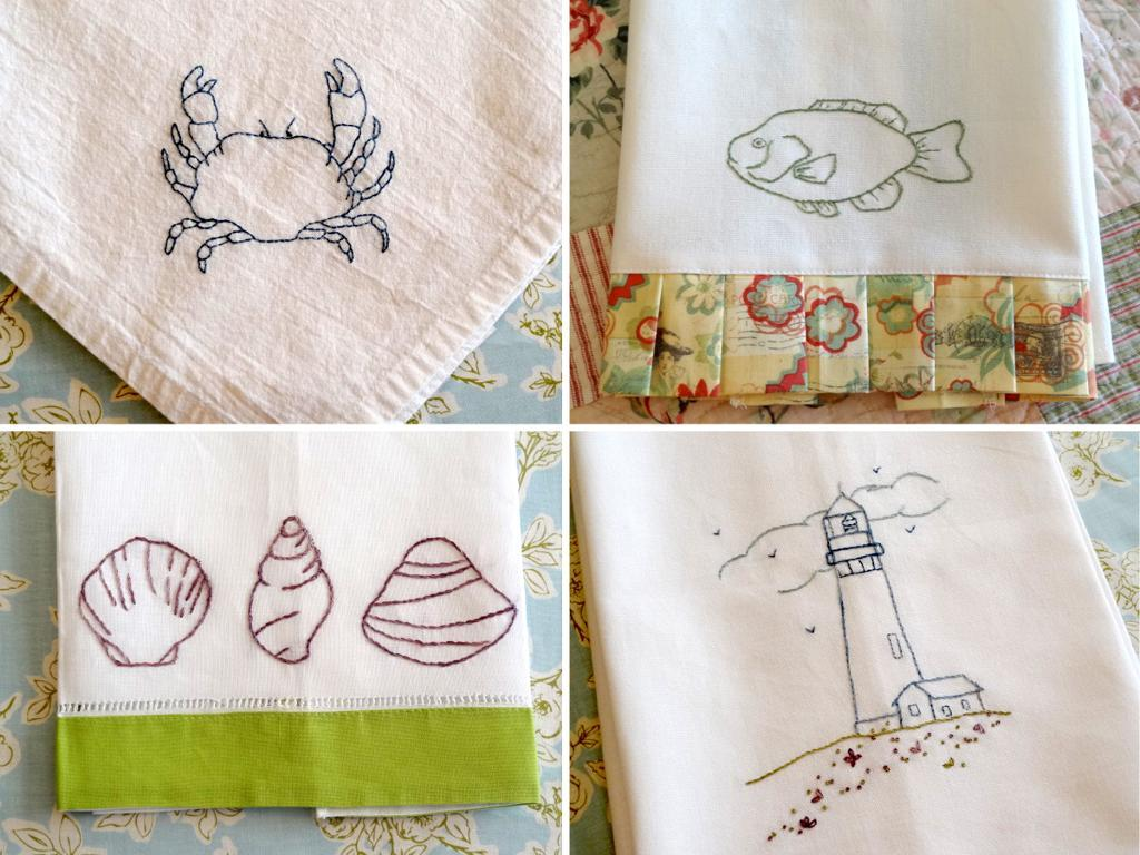 Hand embroidered images of the sea side on towels