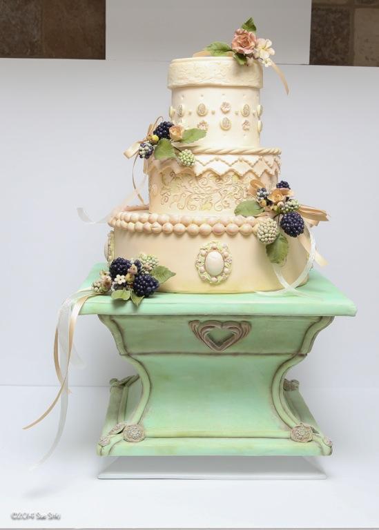 Wonderful berries and blooms wedding cake