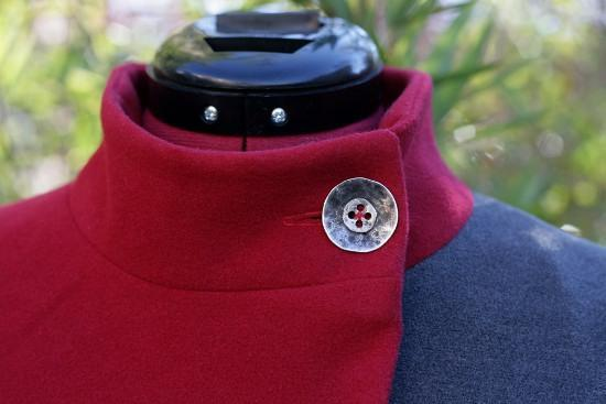 red coat with button