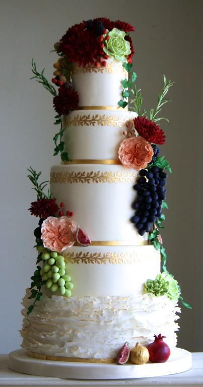 Gold Flower and Fruit Cake