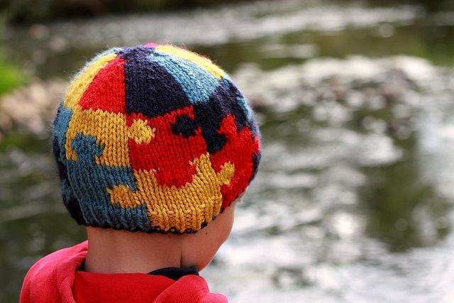 Knitted autism awareness hat