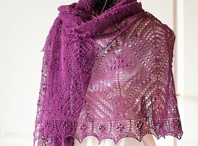 Purple Rectangle Lace Shawl on a Dressform