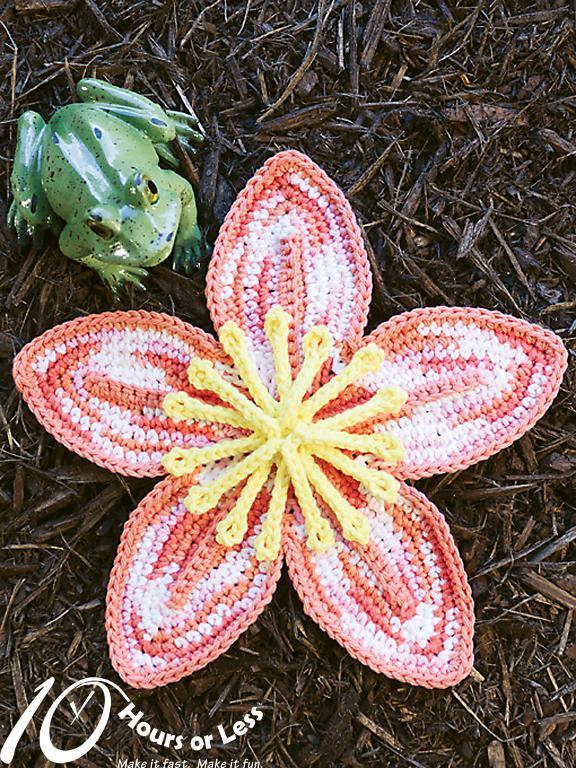 Crochet lily dishcloth