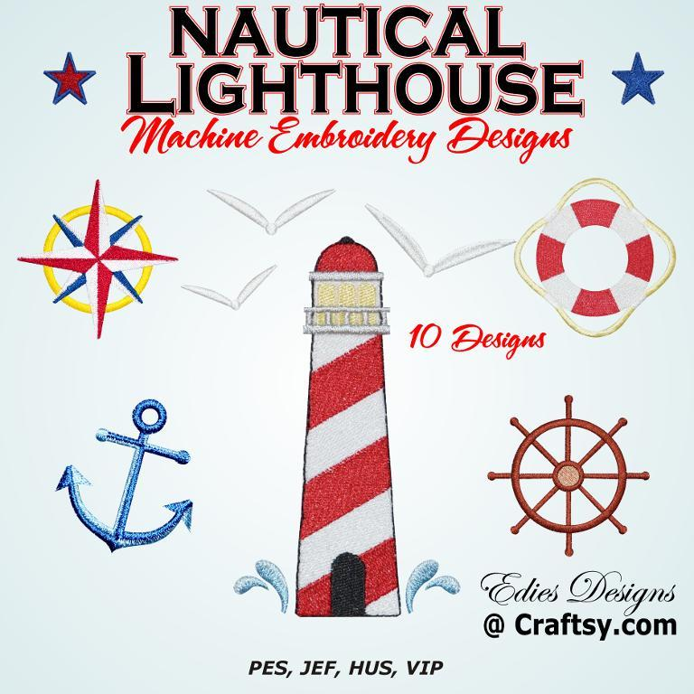 digital machine embroidery nautical patterns