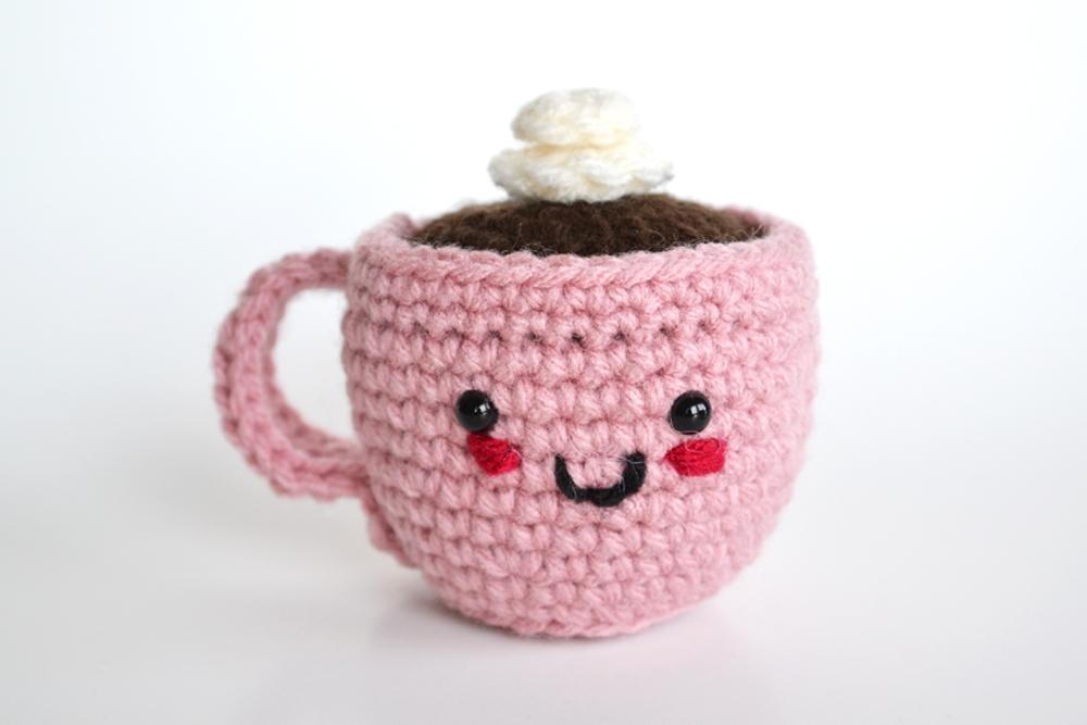 Crochet amigurumi coffee cup pincushion