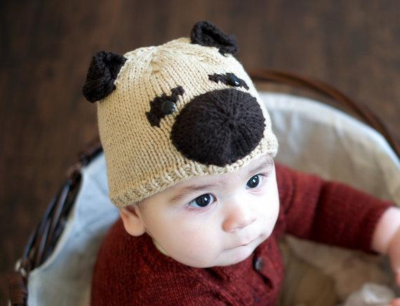 Pugley knitted puppy hat