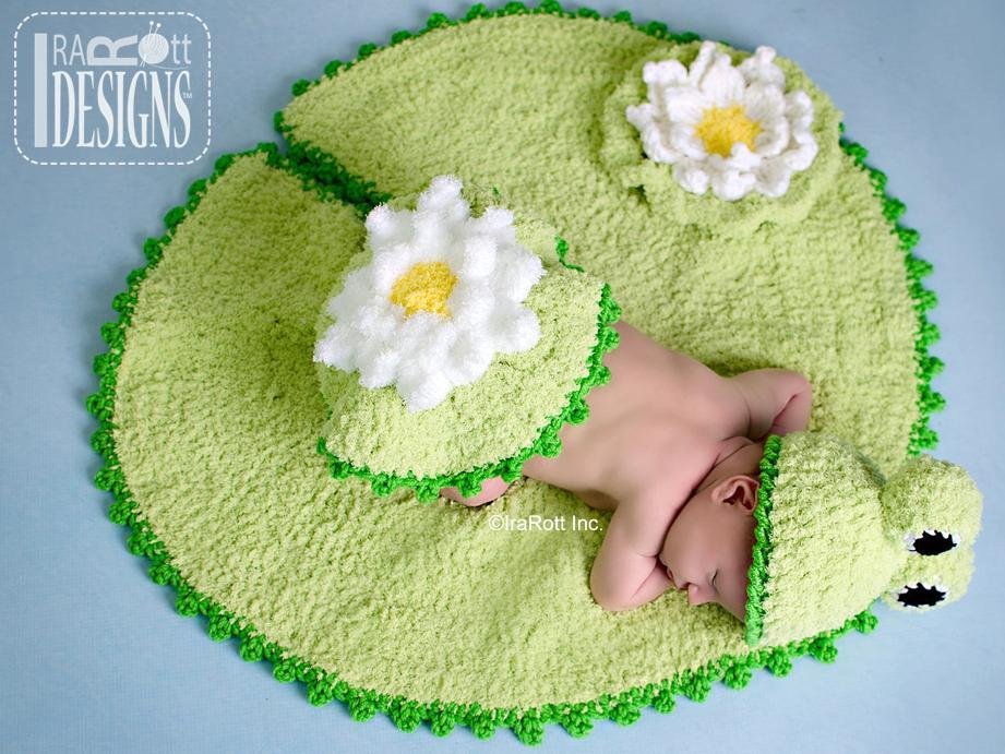 Crochet baby frog on a lily pad