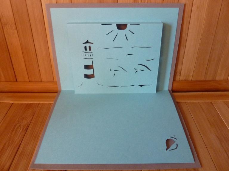Lighthouse and Sea Paper Bluprint Pattern