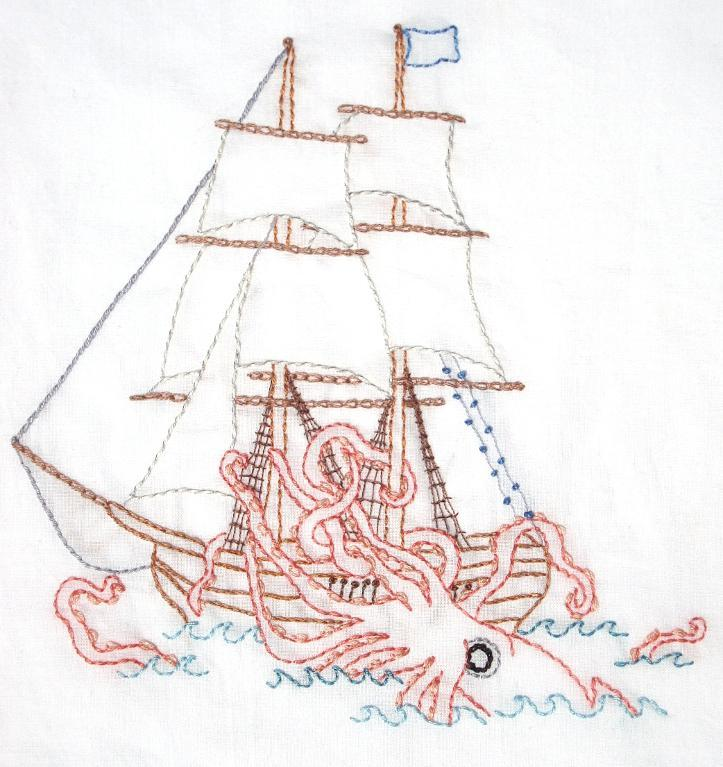 Kraken attacking ship hand embroidery pattern
