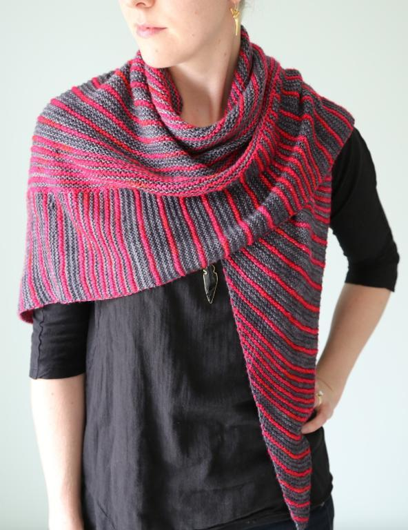 Knitted Itineris triangle shawl