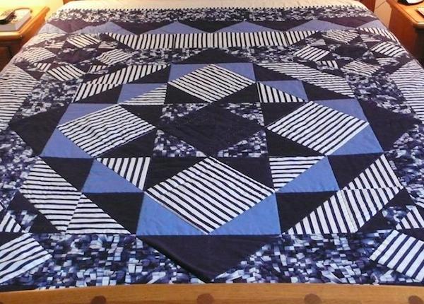 Masculine striped quilt on Bluprint