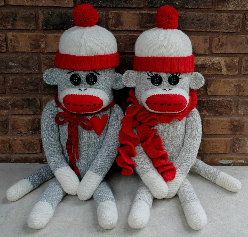 Knitted sock monkey pillow