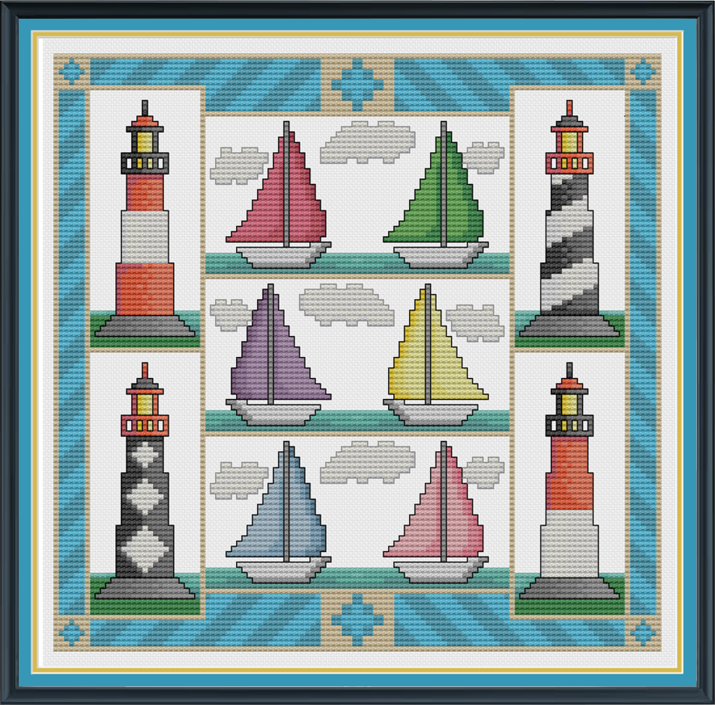 cross stitch pattern of 4 light houses and boats
