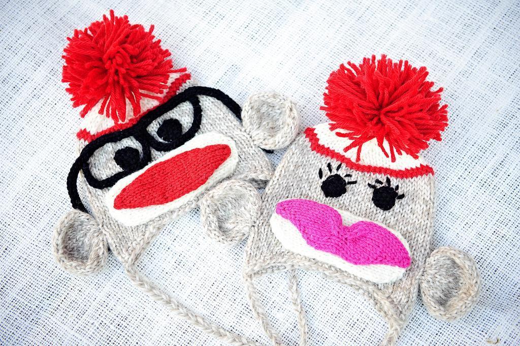 Knitted sock monkey hats