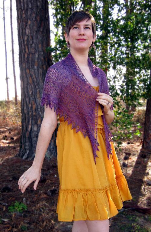 Knitted blackberry mist shawl