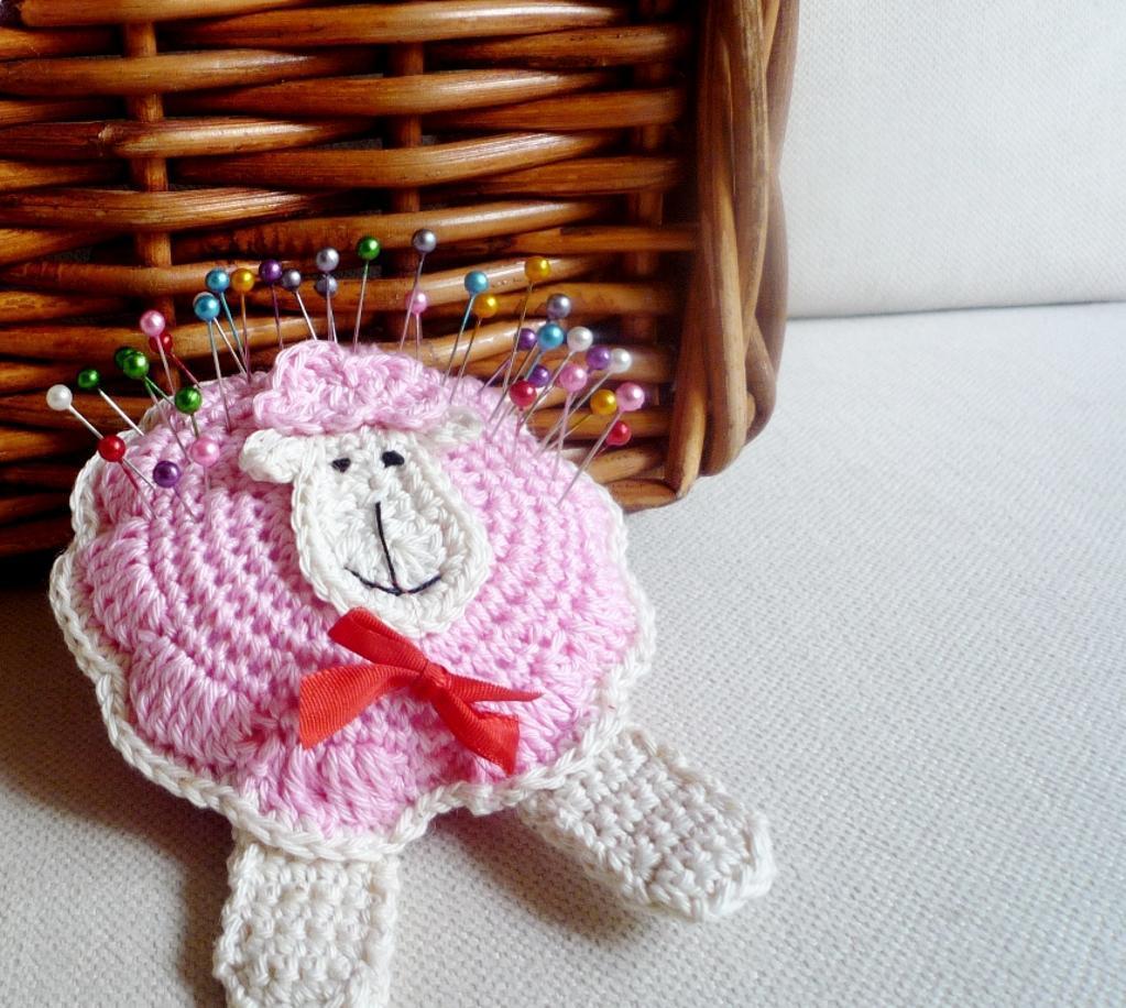 Crochet sheep pincushion