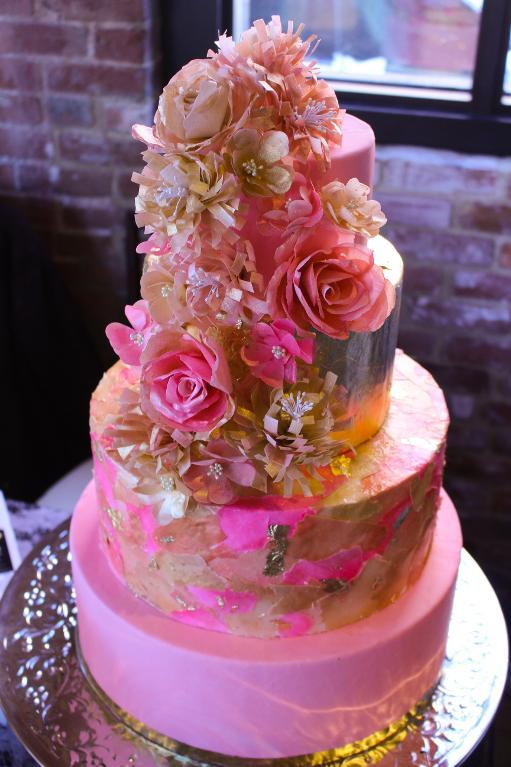 Wafter Paper and Edible Gold Leaf Cake