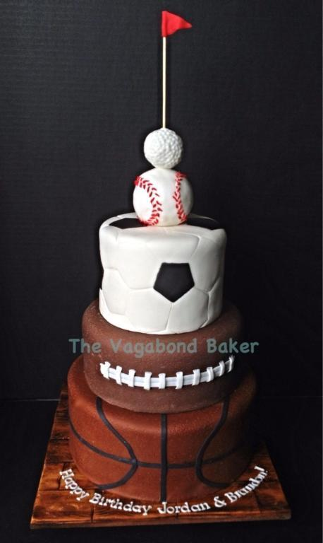 Sport balls stacked to form cake tiers