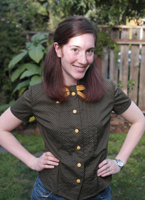 green button front blouse