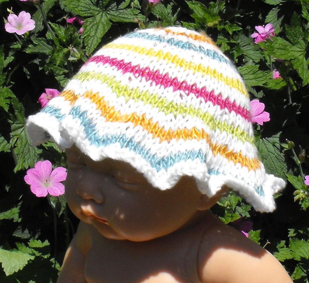 Baby Striped Sun Hat -- Free Knitting Pattern