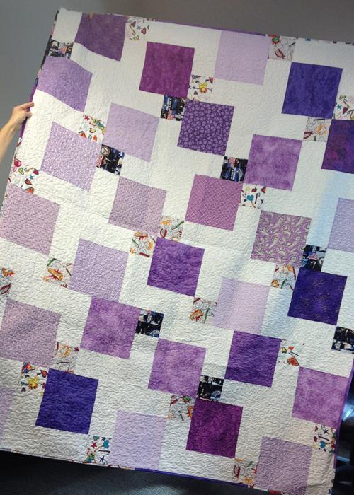 Pretty purple one-block quilt on Craftsy