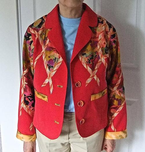 red embellished jacket