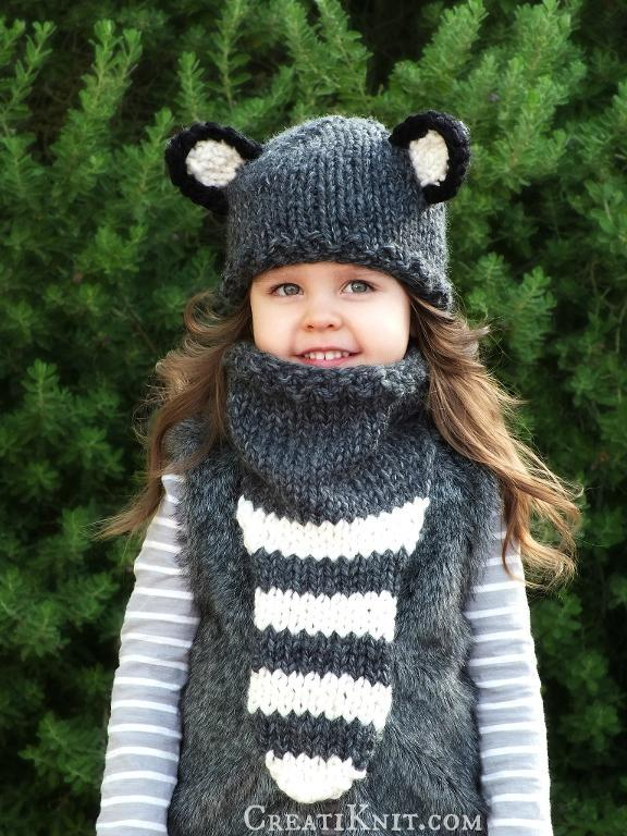 Knit raccoon hat and cowl set
