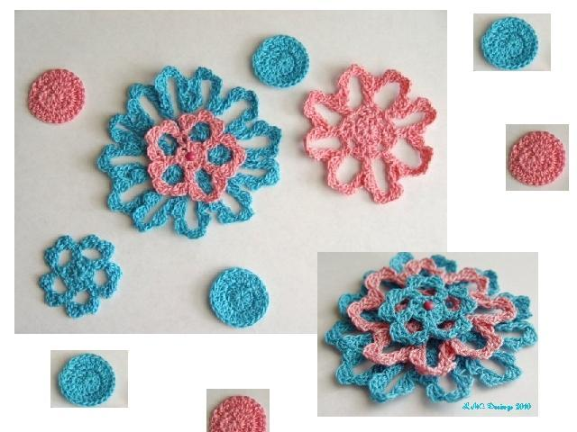 Crochet flowers and dots