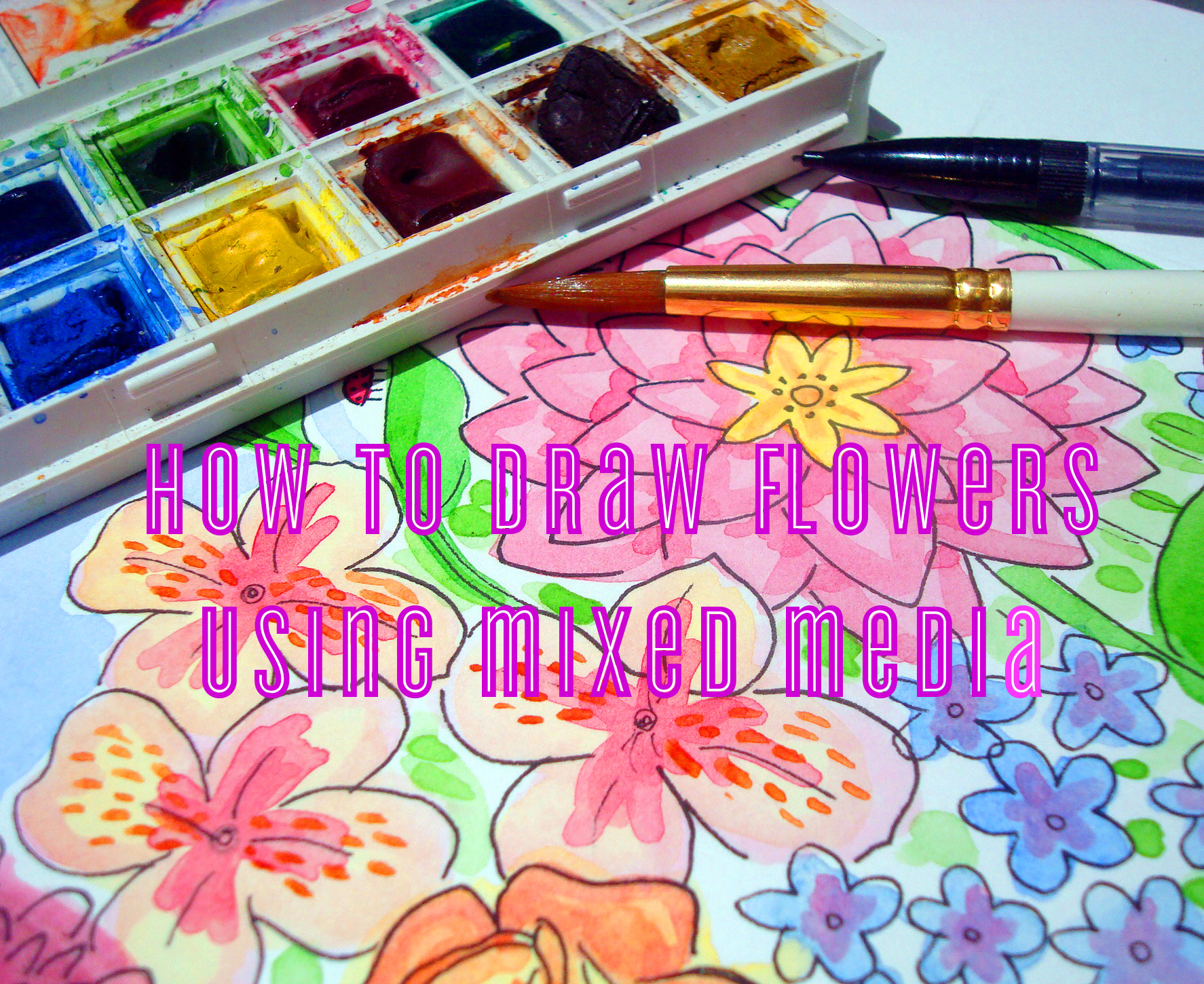 Drawing flowers with mixed media