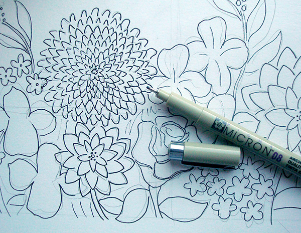 Ink on top of the pencil