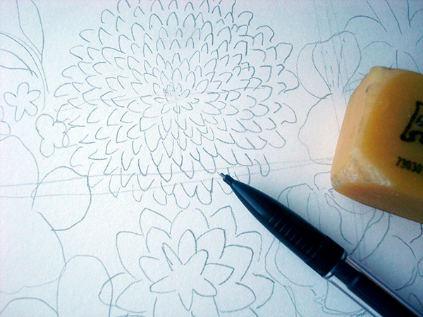 Draw your design in pencil first