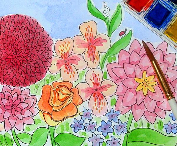 Finishing up mixed media flowers