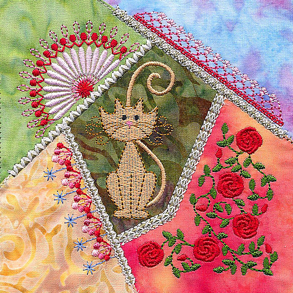 Crazy quilt cat block by Molly Mine