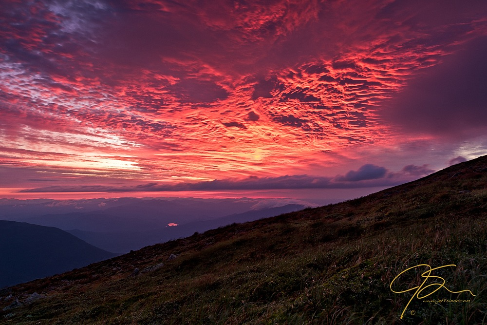 Fiery sunrise on Mount Washington