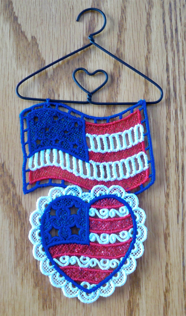 Patriotic flag and heart freestanding lace hanger by Debbie Henry