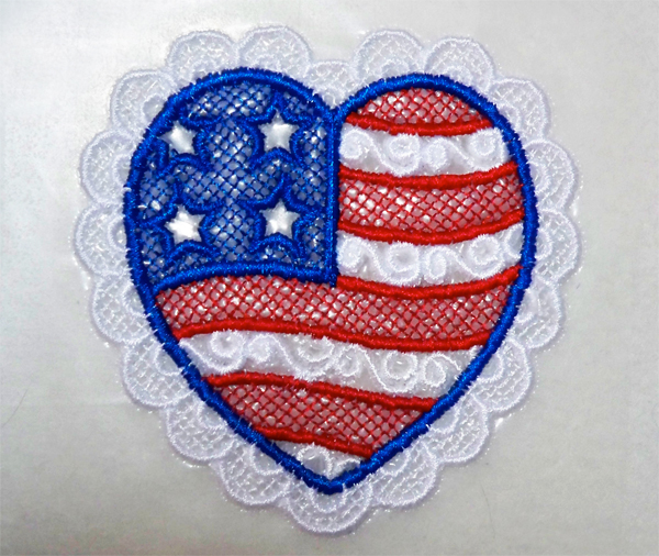 Patriotic Lace Heart by Embroidery Library
