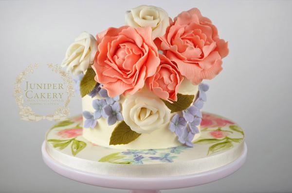 Peony hand-painted cake