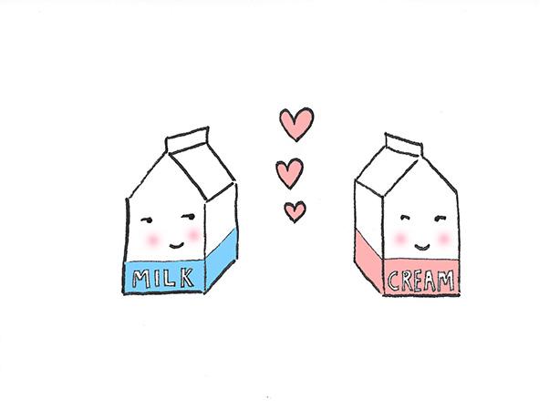 Milk and cream cartons in love