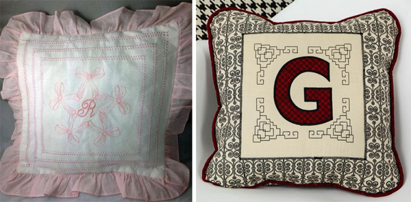 single-letter monogram embroidered pillows