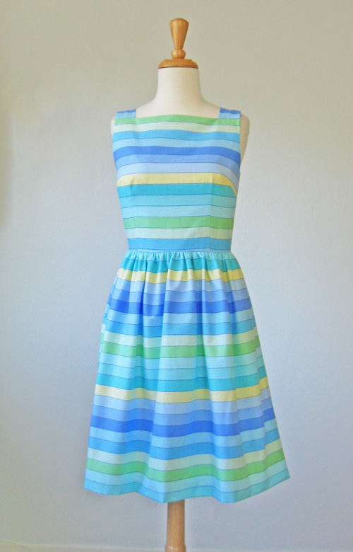 Pastel rainbow stripe dress