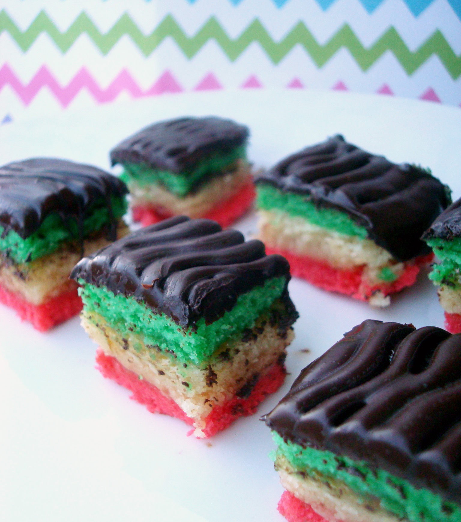 Delicious rainbow cookies on a plate